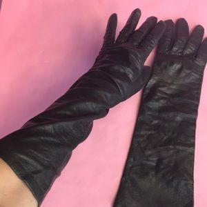Vintage black leather long gloves with silk lining